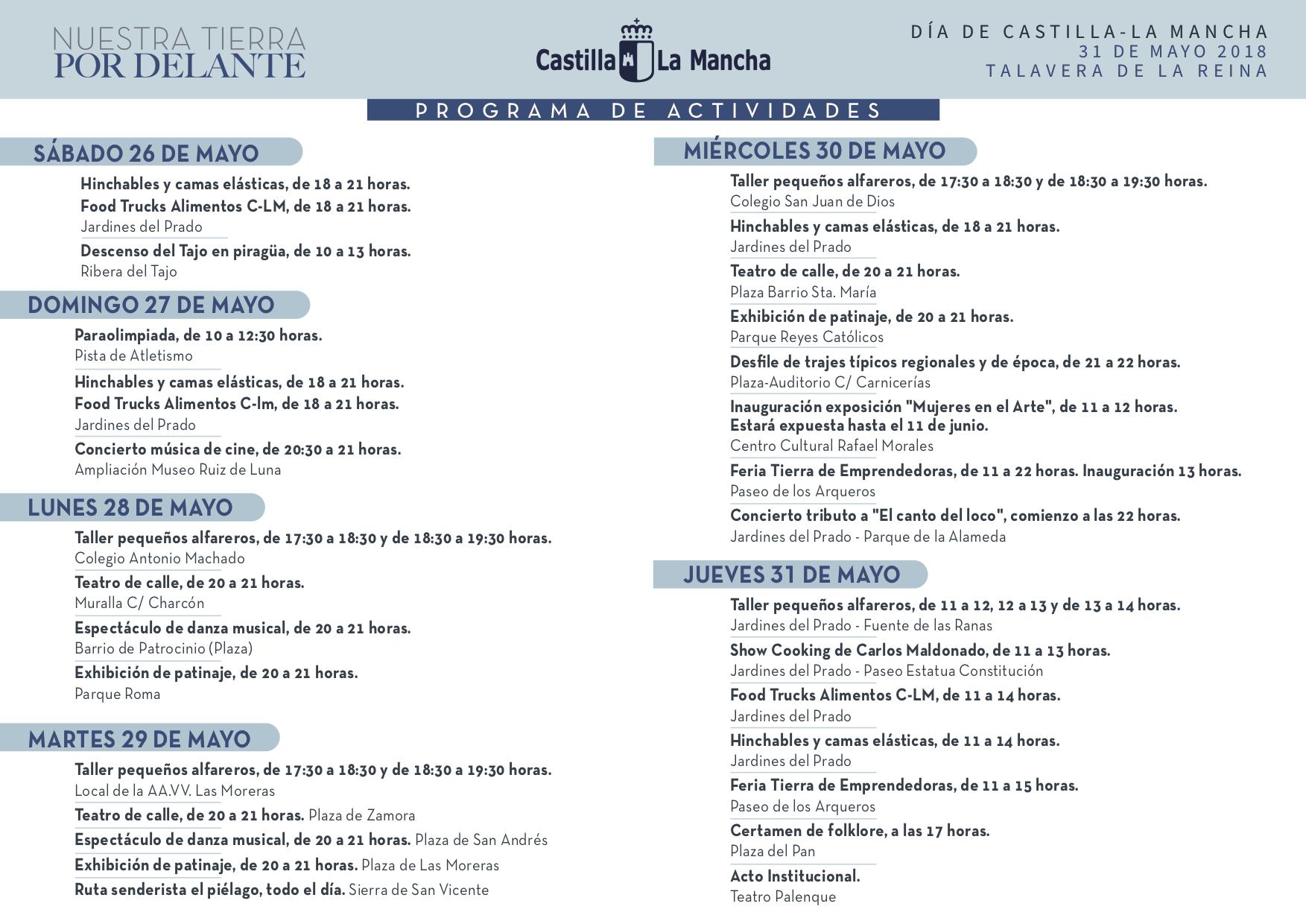 Programa de Actividades Día de Castilla-La Mancha